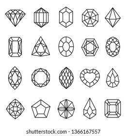 Gemstones lines icon set, geometric rock decoration. Diamond and crystal collection. Vector line art illustration isolated on white background