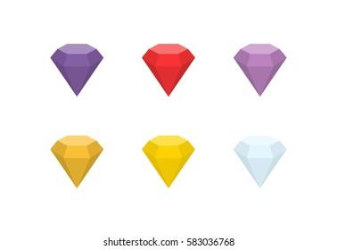 Gemstones vector flat icon.