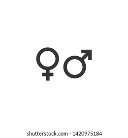 gender black icon vector on white background editable. Male and Female gender symbol monochrome. Man Woman sign.