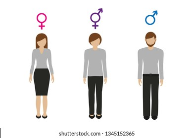 gender characters female male and neutral vector illustration EPS10