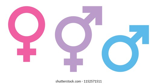 Gender color symbol vector.male , female, transgender, boy, girl, man, woman icons.