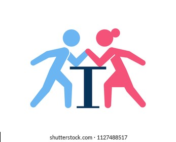 Gender conflict concept. Man and woman in arm wrestling challenge over white background.