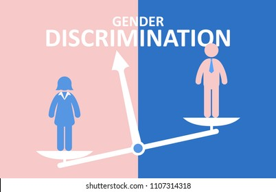 Gender discrimination concept. Male and female standing on balance.