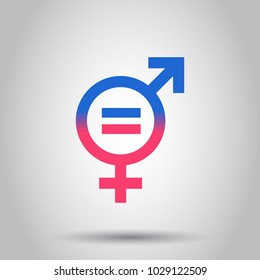 Gender equal icon. Vector illustration on isolated background. Business concept men and women pictogram.