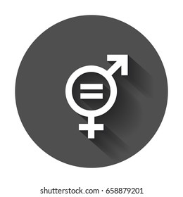 Gender equal sign vector icon. Men and women equal concept icon with long shadow.