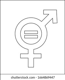 Gender equality black icon. Women's rights. Corporate social responsibility. Sustainable Development Goals. SDG sign. Pictogram for ad, web, mobile app. UI/UX design element.