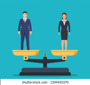 Gender equality with businessman and businesswoman on scales. Equal pay and opportunity business vector concept. male and female equal rights. Vector illustration in flat style