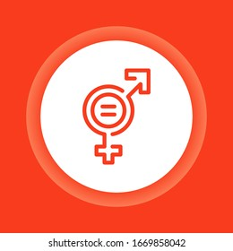 Gender equality color icon. Women's rights. Corporate social responsibility. Sustainable Development Goals. SDG color sign. Pictogram for ad, web, mobile app.