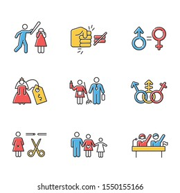 Gender equality color icons set. Violance against woman. Gender stereotypes. Bride price. Forced sterilization. Politic rights. Female harassment, abuse, bullying. Isolated vector illustrations