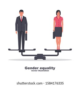 Gender equality concept. Business people man and women are standing on scales as a symbol of equality and fairness. Male and female equal rights. Standing on balance. Vector illustration flat design.
