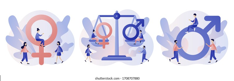 Gender equality concept. Female and Male gender sign. Feminism movement for tolerance, rights and same opportunities like men do. Modern flat cartoon style. Vector illustration on white background
