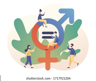 Gender equality concept. Feminism movement for tolerance, rights and same opportunities like men do. Gender sign. Modern flat cartoon style. Vector illustration on white background