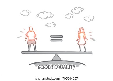 Gender equality concept. Hand drawn male equals female. Equality between man and woman isolated vector illustration.