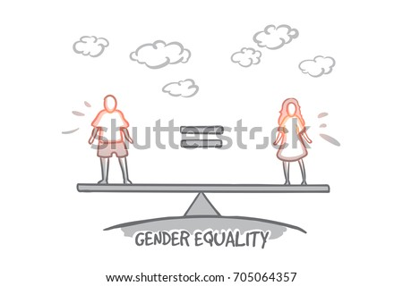 gender equality concept hand drawn male stock vector royalty free