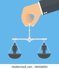 Gender equality concept. Hand holding balance with male and female stick figures on it. Flat style