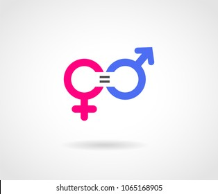 Gender Equality Concept icon. Pink and Blue gender logos. Equality Vector.