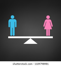 Gender Equality Concept icon. Pink and Blue gender icons on scales. Equality Vector illustration isolated on black backround.