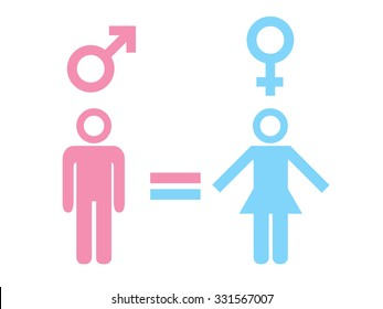 Gender equality concept. Icon set of different gender persons with male female markers. Vector illustration on white background. For your business and design.