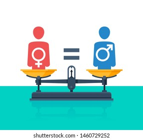 Gender equality concept - weighing scales - balanced people icons with Mars and Venus symbols inside (sign of male and female gender) - vector picture of human rights and values