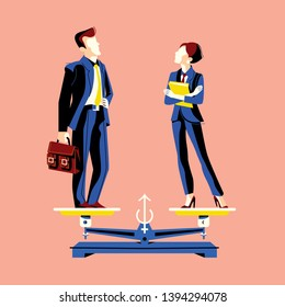 Gender equality concept with woman and man on equal height scales.