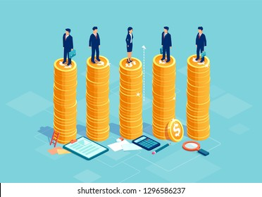Gender equality and equal opportunities in corporate business concept. Vector with businessmen and businesswoman on same pile of money.
