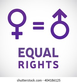 Gender equality. Equal rights concept. Male and female equality concept. Women's rights
