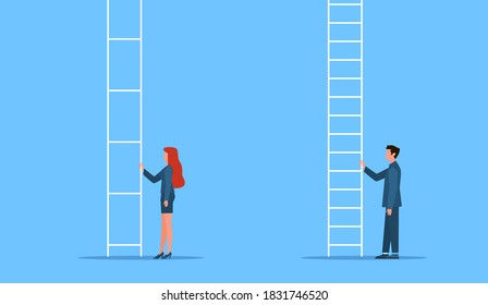 Gender equality. Genders gap, man and woman stand at career ladder, different opportunities in company. Female discrimination, injustice and sexism symbol feminism and women rights vector flat concept