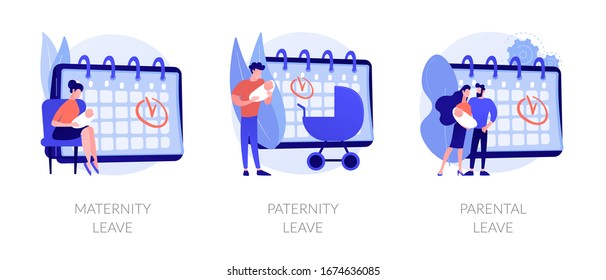 Gender equality issues in child upbringing. Trendy tendencies in infant kids care sharing. Maternity leave, paternity leave, parental leave metaphors. Vector isolated concept metaphor illustrations.