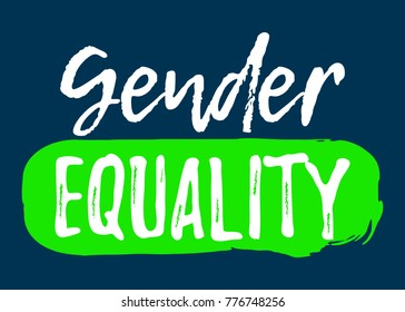Gender Equality label. Font with Brush. Equal Rights Badges. Vector illustration icon.