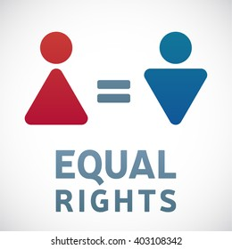 Gender equality. Male and female gender equality concept.  The equality of men and women. Women's rights.
