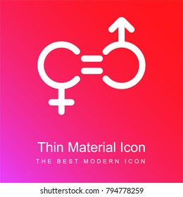 Gender Equality red and pink gradient material white icon minimal design