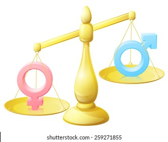 A gender equality scales conceptual illustration with male and female man and woman signs
