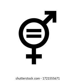 Gender equality symbol, flat vector illustration icon signifies that women and men should always have equal opportunities