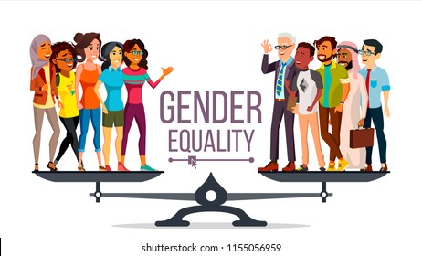 Gender Equality Vector. Businessman, Business Woman. Equal Opportunity, Rights. Male And Female. Standing On Scales. Isolated Flat Cartoon Illustration