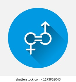 Gender equality vector icon on blue background. Flat image sign  man and woman are equal with long shadow. Layers grouped for easy editing illustration. For your design.