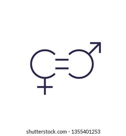 gender equity icon, line vector
