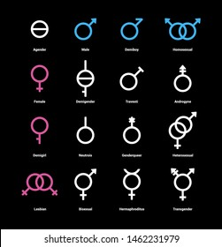 Gender flat color icons set. Sexual orientation concept. Signs for web page, mobile app, banner, social media, button, logo. Pictograms user interface. Vector clipart illustration.