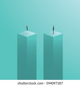 Gender gap or business inequality concept with businessman and businesswoman figure standing apart. Business career challenge symbol. Eps10 vector illustration.