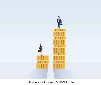 Gender gap and inequality in salary,pay vector concept. Businessman and businesswoman on piles of coins.discrimination, difference, injustice.Vector illustration flat cartoon character design