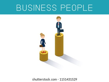 Gender gap and inequality in salary,pay vector concept. Businessman and businesswoman on piles of coins.discrimination, difference, injustice.flat cartoon character design Vector illustration