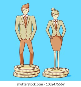 Gender gap, man and woman are getting different salary, gender inequality