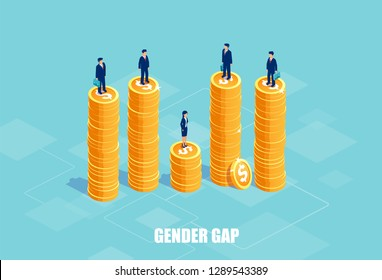 Gender gap and pay difference concept. Vector of businessmen and businesswoman on piles of coins of different height. Symbol of discrimination and injustice in corporate life.