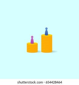 Gender gap or unequal pay concept. Vector illustration