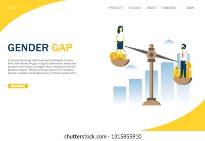 Gender gap vector website template, web page and landing page design for website and mobile site development. Man and woman balancing on scales with money. Gender wage inequality, injustice.