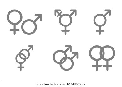 Gender glyphs. Male, female, heterosexual, bisexual, homosexual, gay, lesbian, hermaphrodite, transgender, transexual, transsexual, intersex, threesome, pansexual symbols. Sex signs. Vector icon.