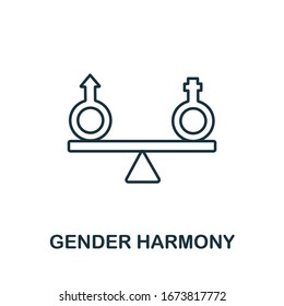 Gender Harmony icon from life skills collection. Simple line Gender Harmony icon for templates, web design and infographics