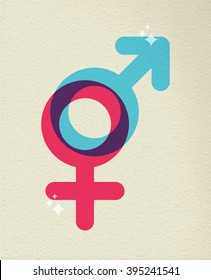 Gender icon concept, illustration of people sex boy and girl symbol in colorful style over texture background. EPS10 vector.