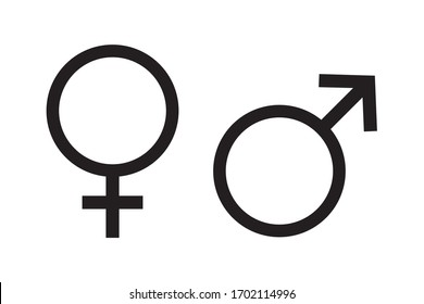 Gender Icon, Male and female symbol for your web site design, logo, app, UI. Vector illustration, isolated on white background