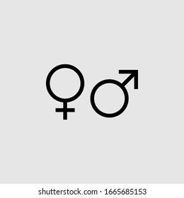 Gender icon. Men and Woman icon . Male and Female symbol vector sign isolated on gray background illustration for graphic and web design.