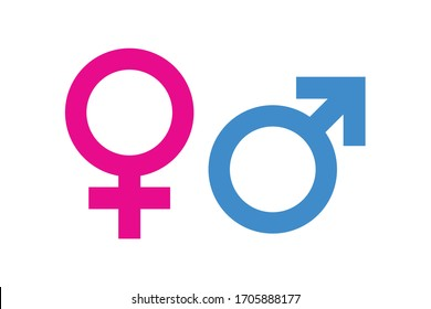 Gender Icon pink and blue symbol, Male and female symbol for your web site design, logo, app, UI. Vector illustration, isolated on white background